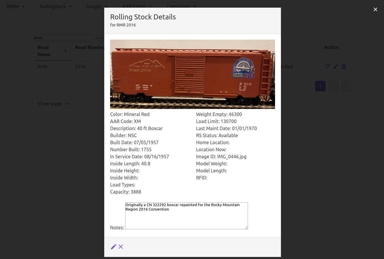 MRIM Rolling Stock Detail Popup
