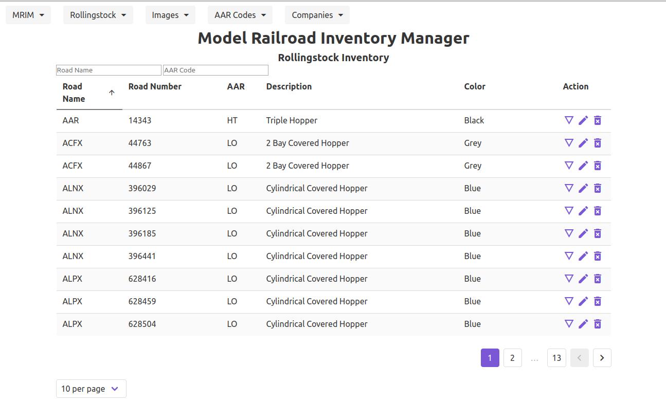 MRIM Rolling Stock Inventory List