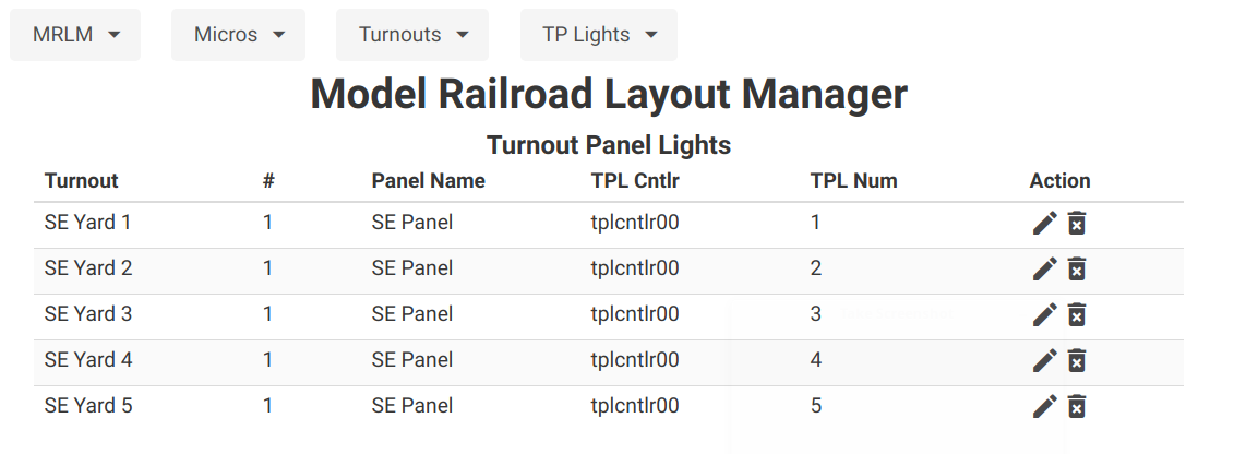 MRLM Turnout Panel Light List